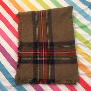 Soft Cozy Long Brown and Colorful Plaid Scarf